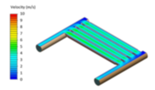 3D thermal simulation of liquid cooled heat sink showing the liquid flow velocity