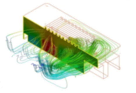 3D Thermal simulation of an electronics enclosure showing forced convection of air