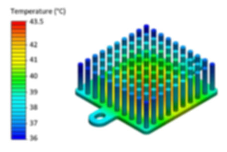 3D thermal simulation of air cooled heat sink showing the spatial temperature distribution