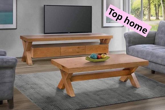 סט מזנון ושולחן עץ אלון