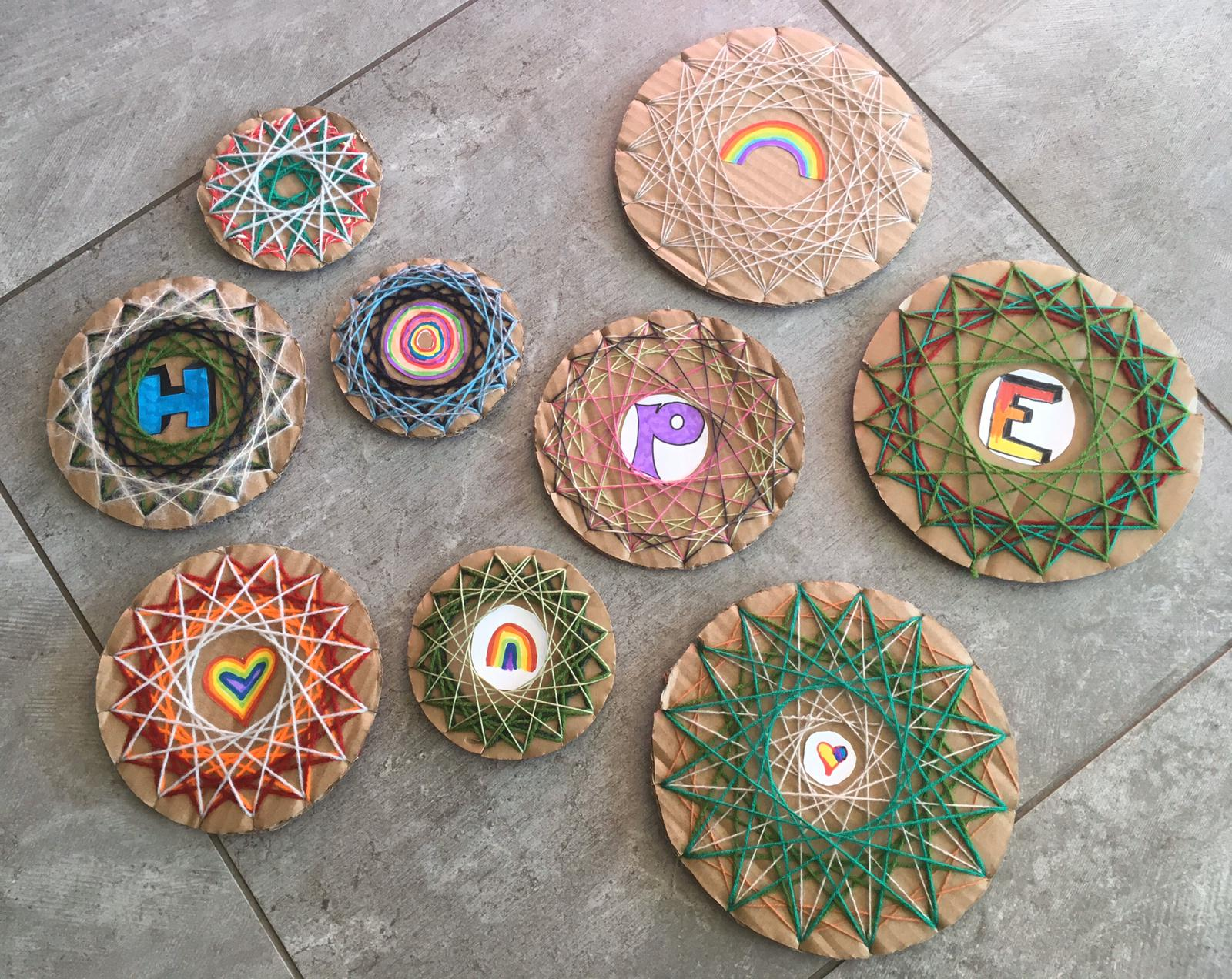 Isla and Elodie's wool mandalas