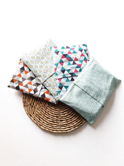 Kit 4 mouchoirs lavables + pochette (en stock)
