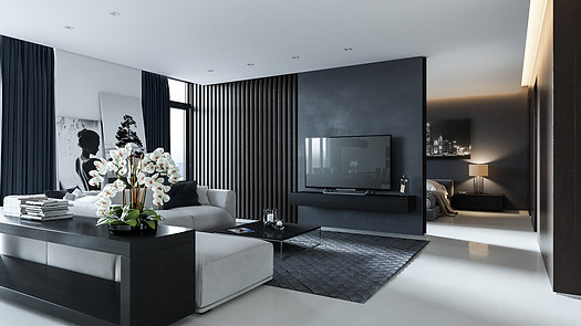 lilies-feature-TV-cabinet-wall-dark-grey