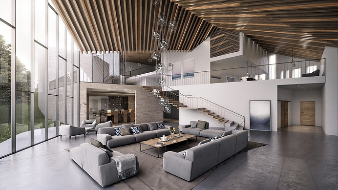 high-wooden-rafters-ceiling-windows-grey