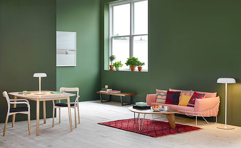 Moss-Green-Living-Room-with-Pink-Accent-