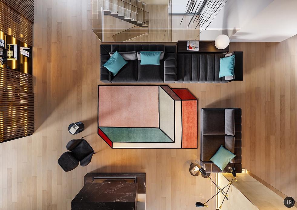 unique-rug-black-suede-couches-pop-art-l