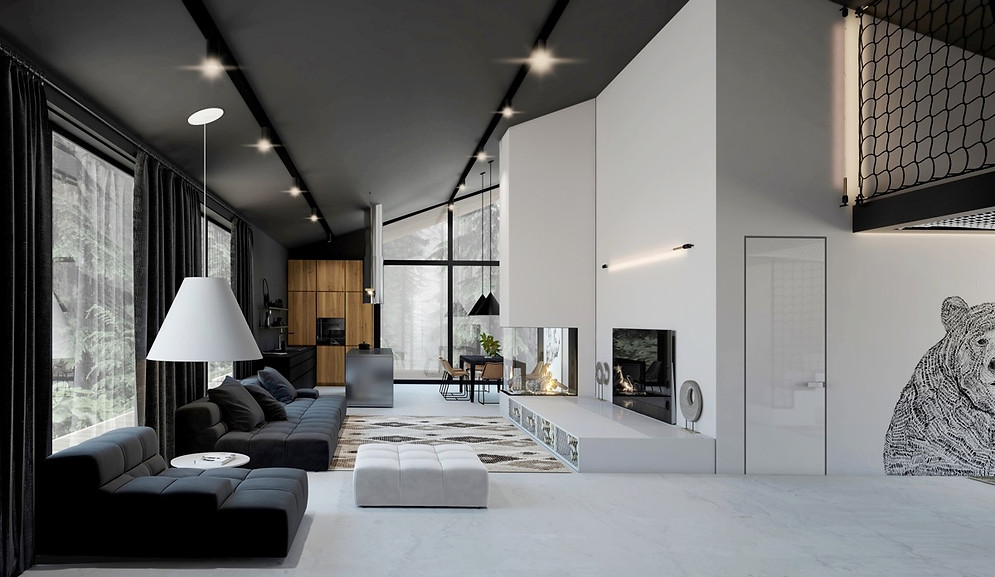 monochrome-living-room-with-illustration
