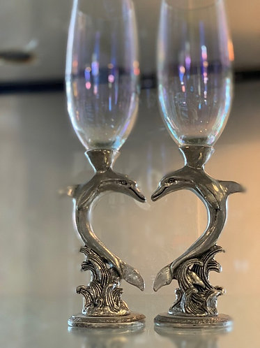 Dolphin Heart Champagne Flutes - Clear
