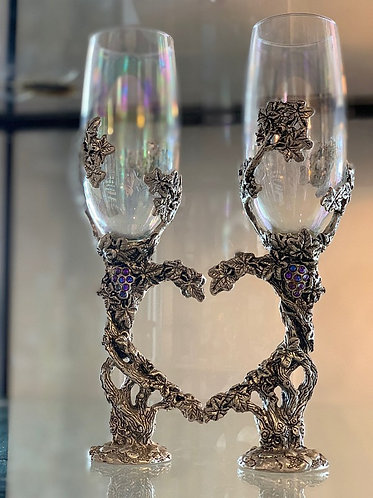 Grapevine Heart Flutes - Clear