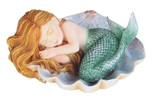 Green Mermaid Baby in Shell