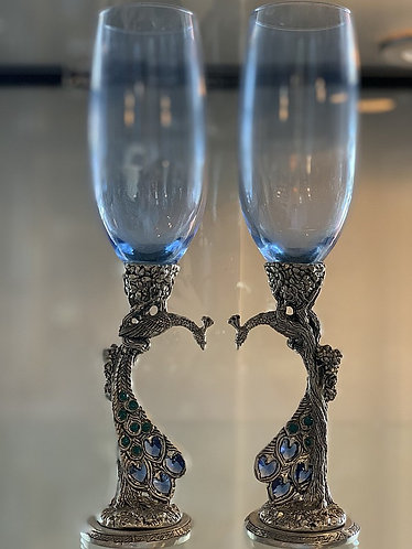 Peacock Champagne Flutes - Light Blue
