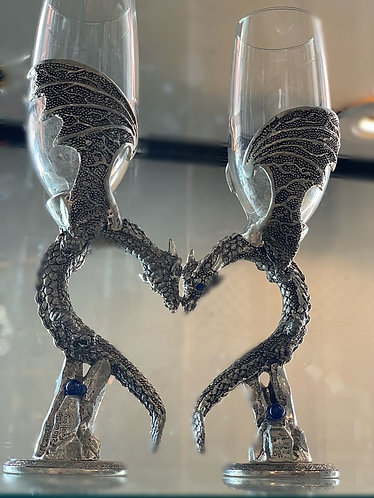 Dragon Wing Heart Toasting Flutes - Clear large wings