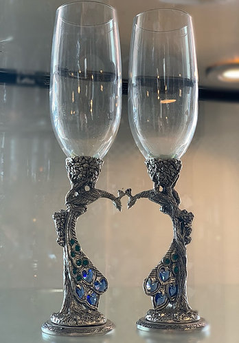 Peacock Champagne Flutes - Clear