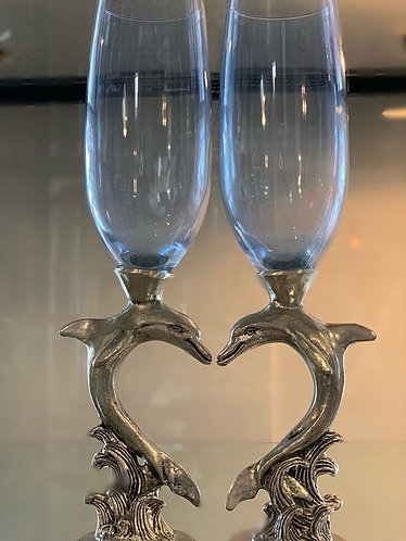 Dolphin Heart Champagne Flutes - Light Blue
