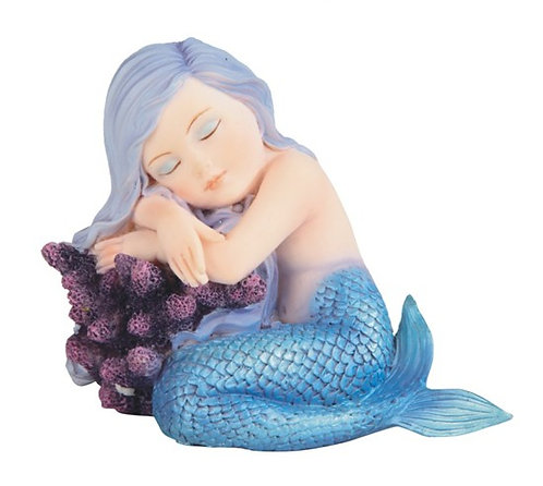 Blue Mermaid Baby with Coral