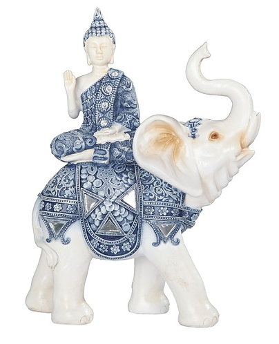 Blue & White Buddha on Elephant