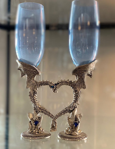 Love Dragon Champagne Flutes - Light Blue small wings