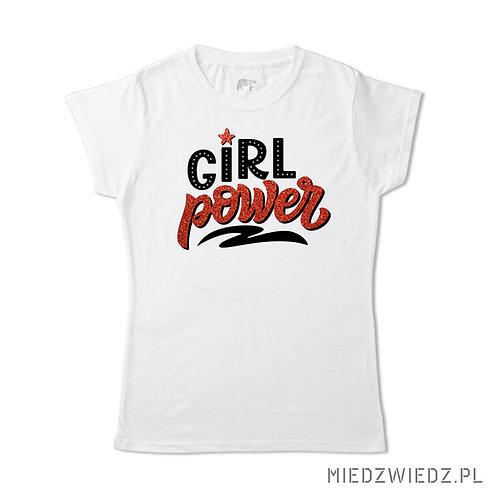 Koszulka - GIRL POWER czerwony brokat