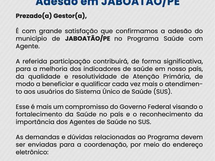Município de Jaboatão/PE confirma adesão ao Programa Saúde com Agente