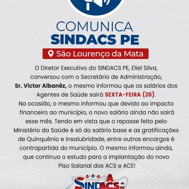 COMUNICADO PARA O MUNICÍPIO DE SÃO LOURENÇO DA MATA