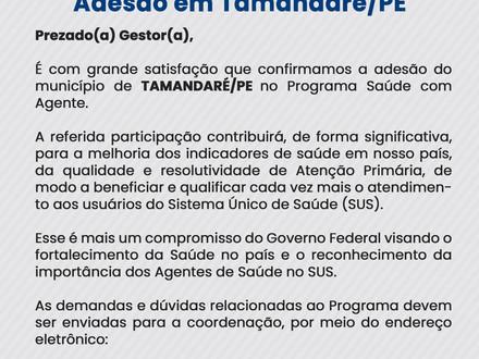 Município de Tamandaré/PE confirma adesão ao Programa Saúde com Agente