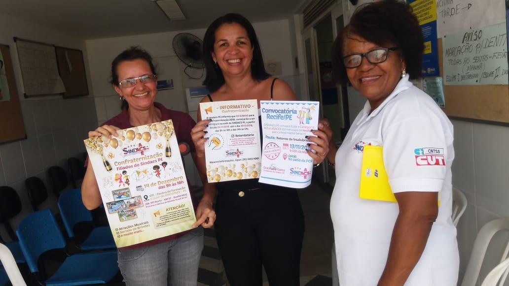 SINDACS PE realiza mais um ciclo de visitas nas Unidades de Saúde e Pontos de Apoio do Município de Recife!