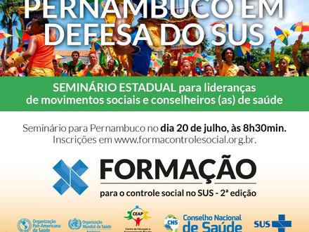 SINDACS PE convida todos para participar do Seminário de Formação realizado pelo CNS