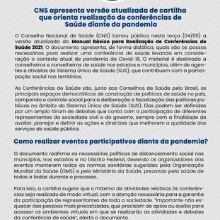 CNS apresenta versão atualizada de Cartilha de realização de Conferências de Saúde diante a pandemia