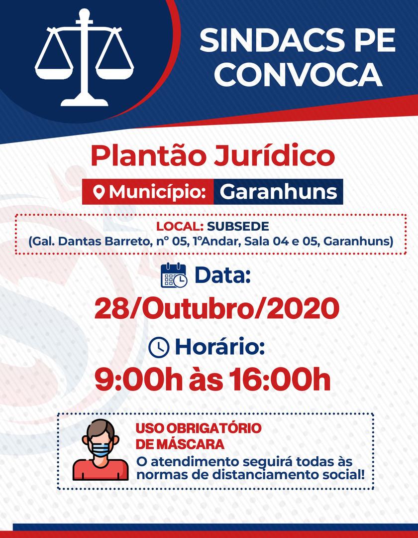 PLANTAO JURIDICO GARANHUNS - 28 OUTUBRO