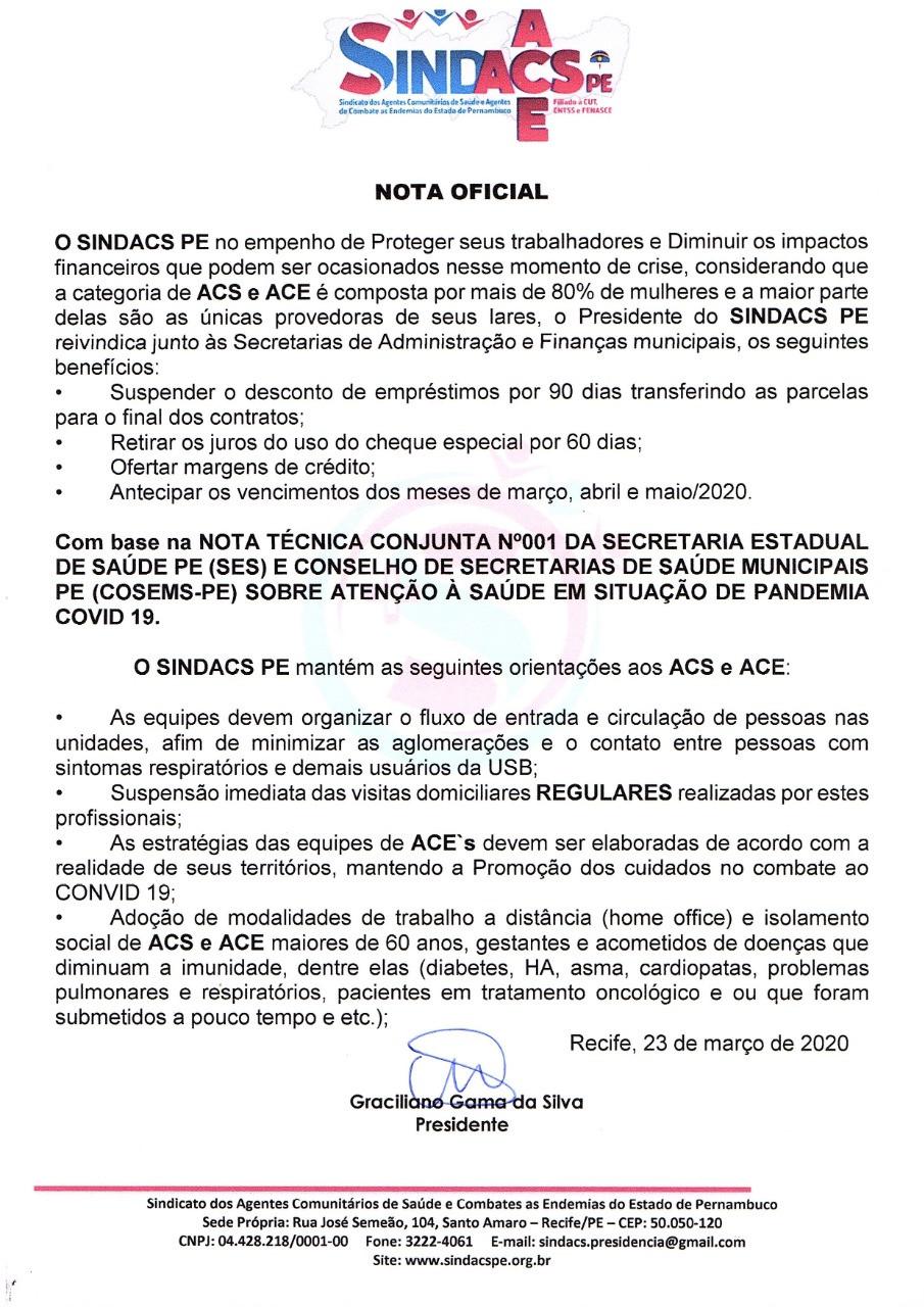 Nota Oficial sindacs PE