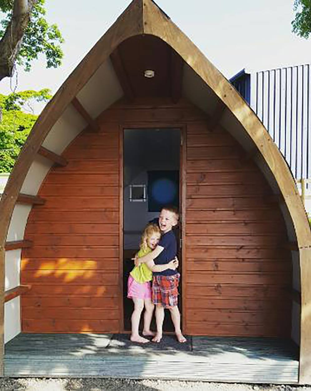 Kids enjoying their time Glamping
