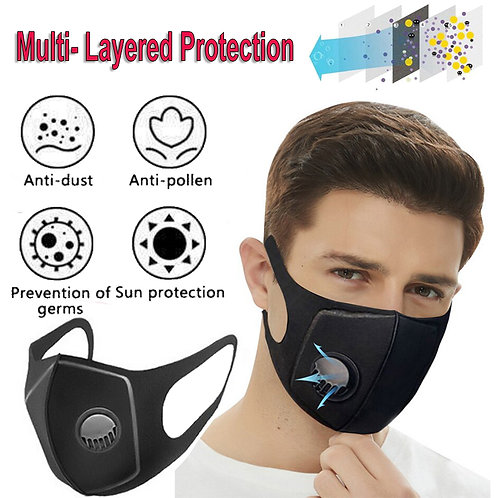 Reusable Face Mask Air Purifying Washable Mask Haze Filter Pollution
