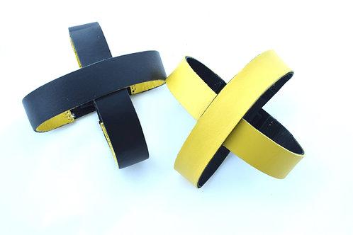 4 Lederriemen doppelseitig gelb und schwarz