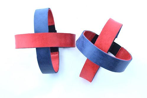 4 Lederriemen doppelseitig rot und blau