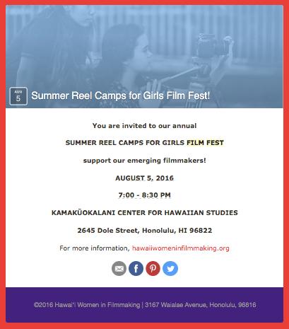 2016 Summer Reel Camps for Girls Film Fest!