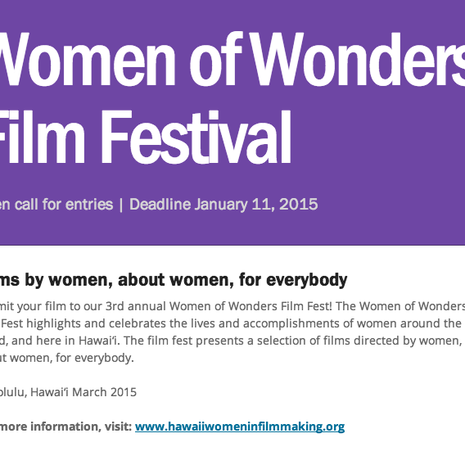 2015 Women of Wonders Film Festival | Open call for entries