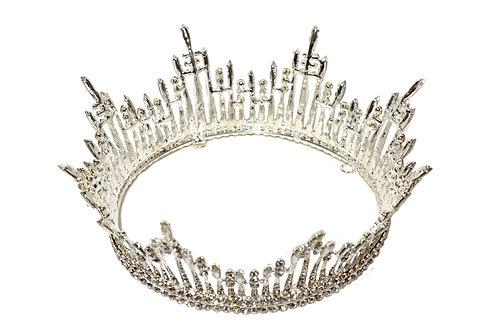Silver Crown headpiece-Rhinestone Bridal Queen Crown Headpiece
