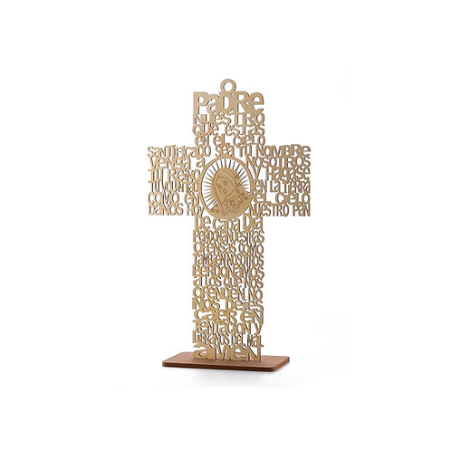 Natural  Baptism Centerpieces-Our Lady Guadalupe Wood Laser Cut