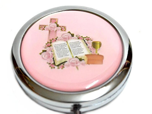 Mirror compact Gifts-Comunion Favors-Cross Bible Design. Pink