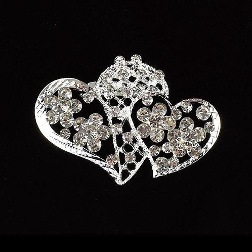 Rhinestone Brooches Crystal Double Heart Pin.