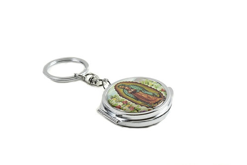 Mirror Keychain-Our Lady Guadalupe Compact Mirror Keychain