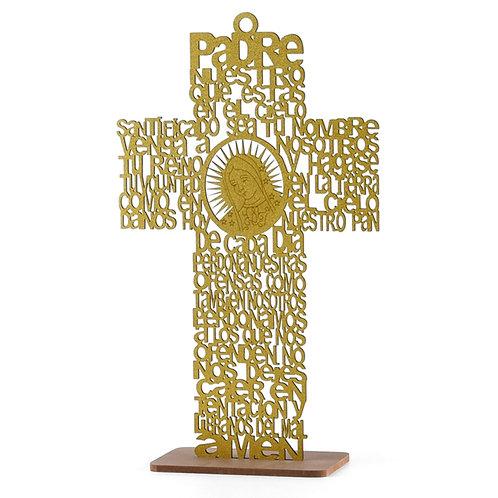 Gold Baptism Centerpieces-Large Cross Wood Laser Cut