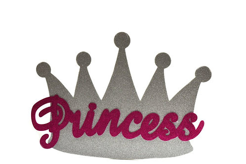Baby Shower Banner-Silver Princess Crown Glitter Foam
