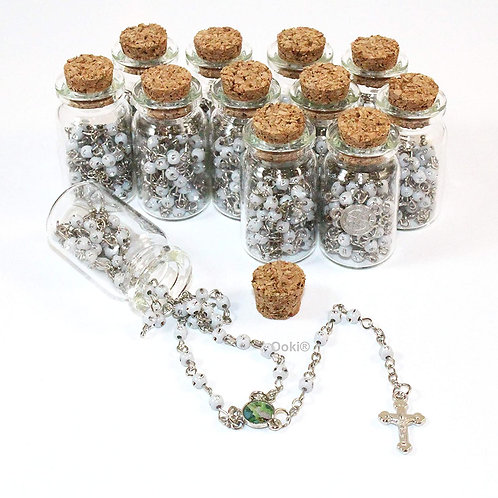White Rosary Cross Necklace-Guardian Angle Rosary in Glass Jar Bottle