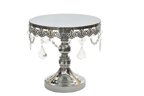 Wedding Cake Stand-Round Cake Stand Crystal Drop-10 Inches