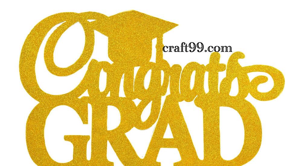 Gold Congrats Grad Banner-Graduation Party Decorations XXL