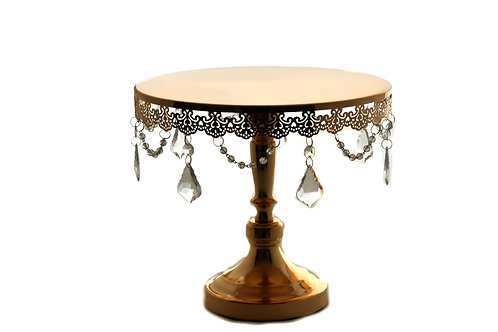 Gold Wedding Cake Stand-Round Metal Cake Stand Crystal Drop-14 Inches