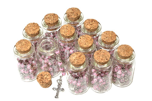 Pink Rosary Cross Necklace-Baby Angel Rosary Necklace Catholic in Glass Jar
