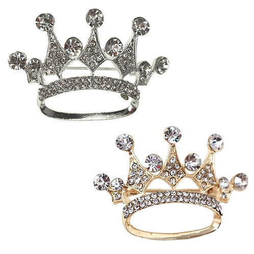 Rhinestone Brooches-King Crown Rhinestone brooch pin