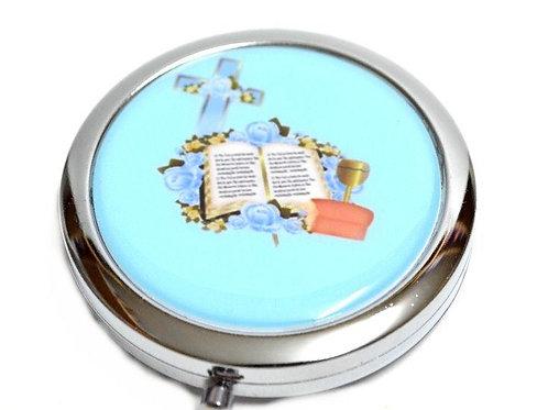 Mirror Compact Gifts-Comunion Favors-Bible Cross Figure. Blue